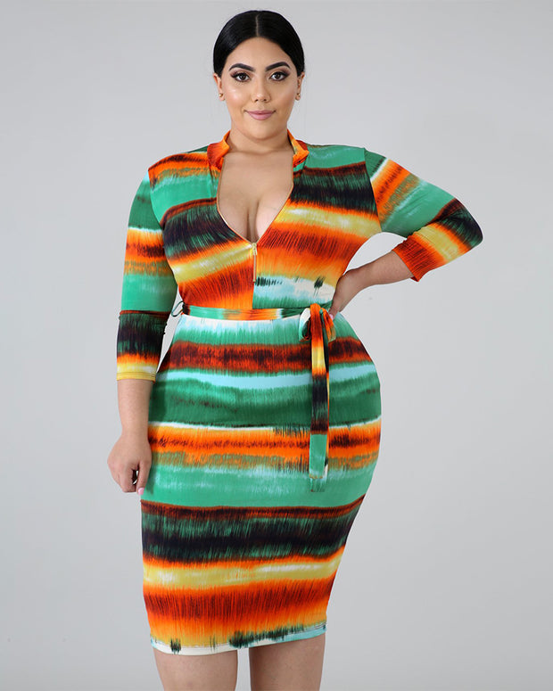 CURVY TIED IN KNOT PLUS SIZE MIDI DRESS