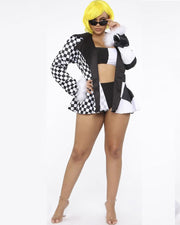Plus Black & White Grid Print Jacket