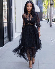Language Of Style Black Lace Maxi Dress