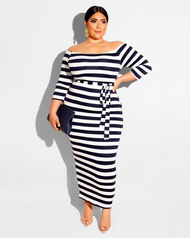 Plus Black-White Stripe Prints Bodycon Dress