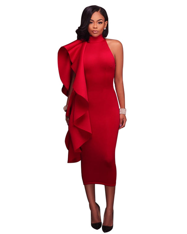 Elegant Falbala Bodycon Midi Dress