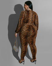 Plus Leopard Print Jumpsuit