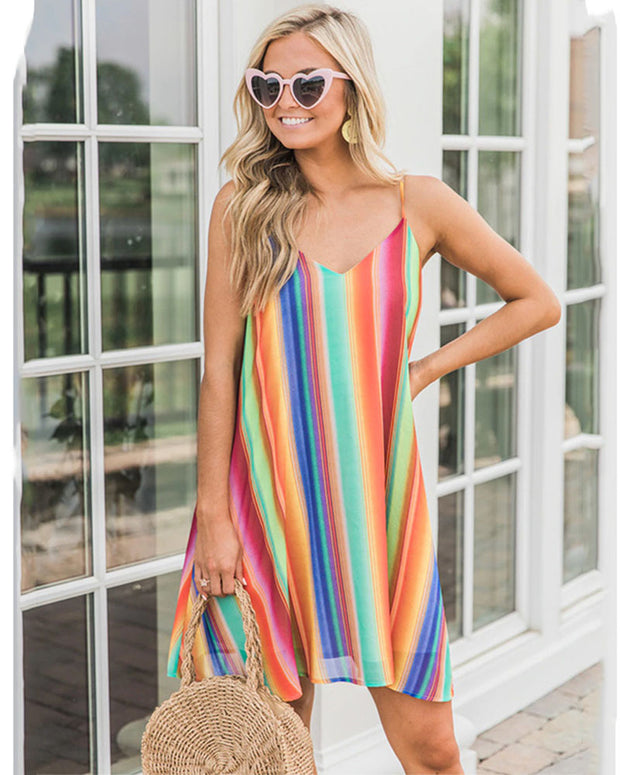 V Neck Colorful Mid Dress