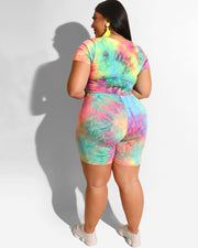 Plus Short Sleeve Tie-Dye Two Piece Set