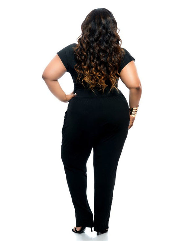 Black Champagne Plus Size Jumpsuits