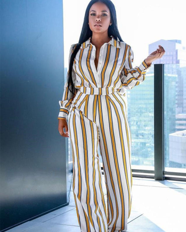 Sexy Stripe Long Shirt Wide Leg Two Piece Outfits