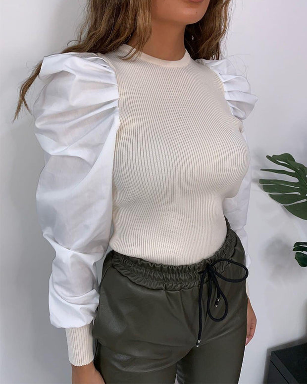 Elegant Puff Sleeve Pure Color Top