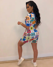 Letter Print Half Sleeve Bodycon Dress