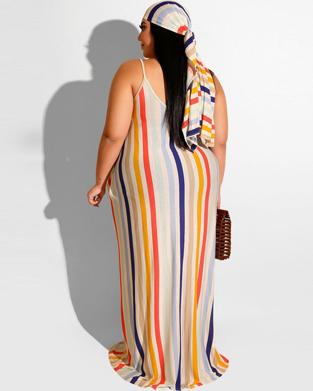 Plus Striped Print Belted Maxi Dress