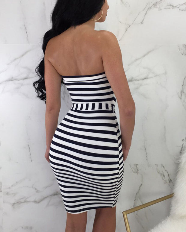 Striped Button Front Midi Dress With Belt