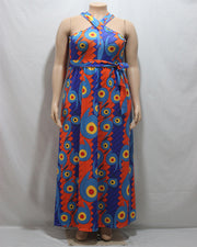 Plus Cross Strap Prints Maxi Dress