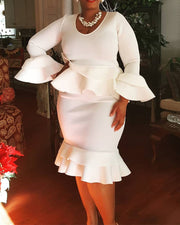 Plus Falbala Pure White Bodycon Dress