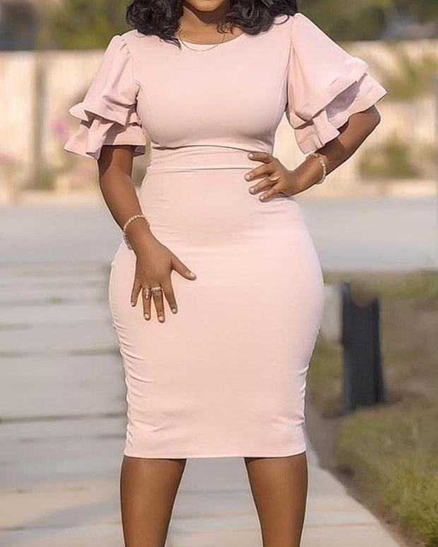 Plus Pink Round Neck Falbala Sleeve Bodycon Dress