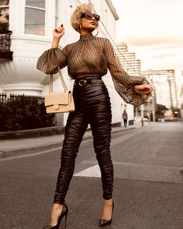 Gauze See Through Puff Sleeve Backing Shirt