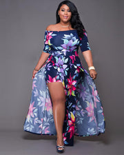 Floral Pattern Plus Size Maxi Dress