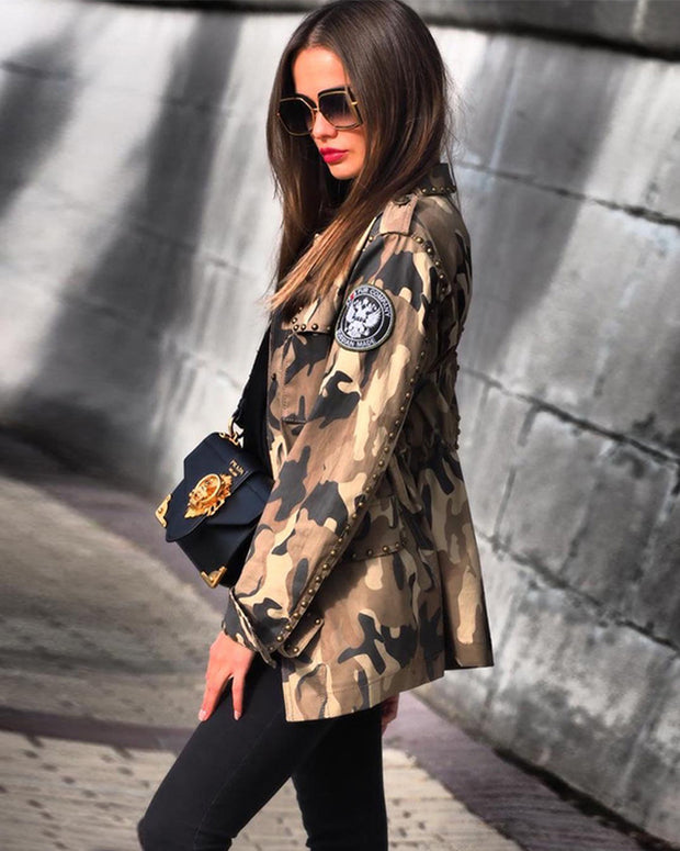 Rivets Camo Denim Jacket