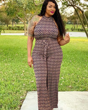 Plus Totem Pattern Sleeveles Jumpsuit