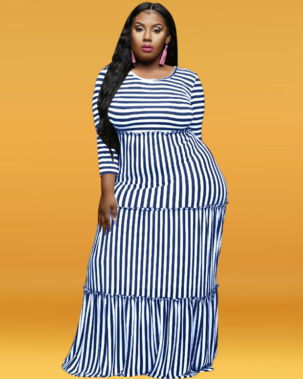 Plus Striped Print Ruffle Hem Maxi Dress