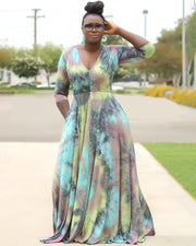 Plus Retention of Fallen Leaves Maxi Dress