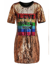 Fall In Love With Sequins Shirt Dress