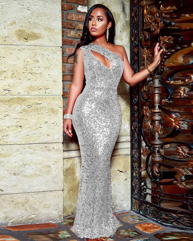 One Shoulder Sequin Full Dress