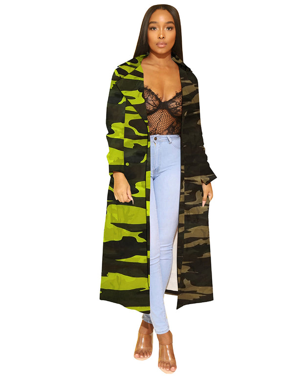 Patchwork Denim Camo Coat