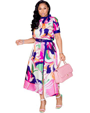 Just Recreational Floral Print Midi Dress