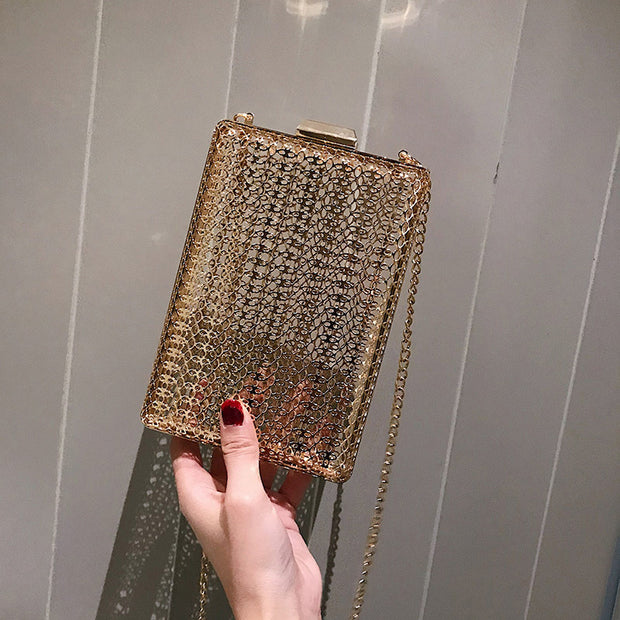 Patterned Metal Cut-out Clutch Bag