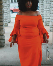 Plus Autumn Colors Midi Dress
