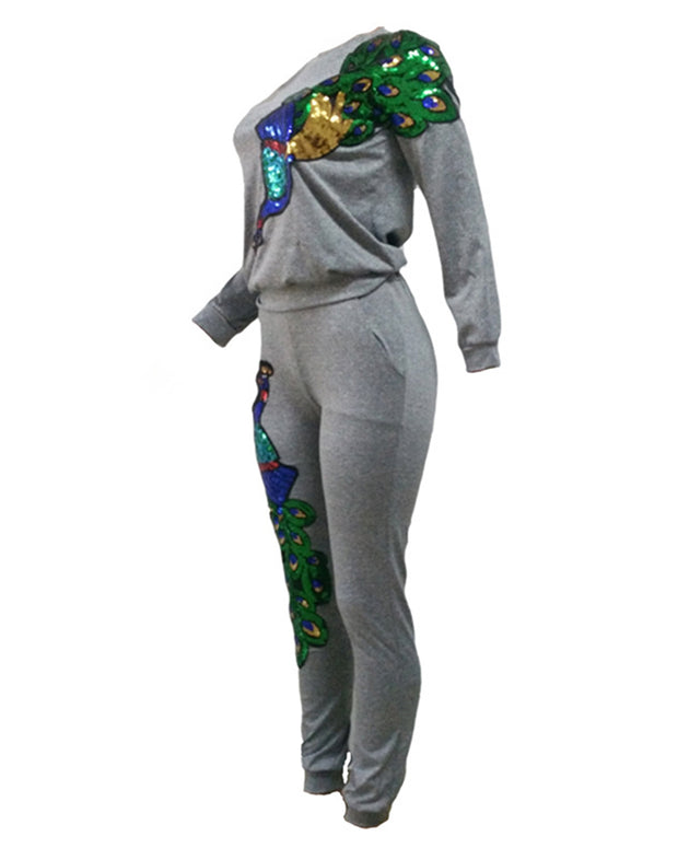 Hot Pursuit Peacock Print Sequin Two Piece Suit