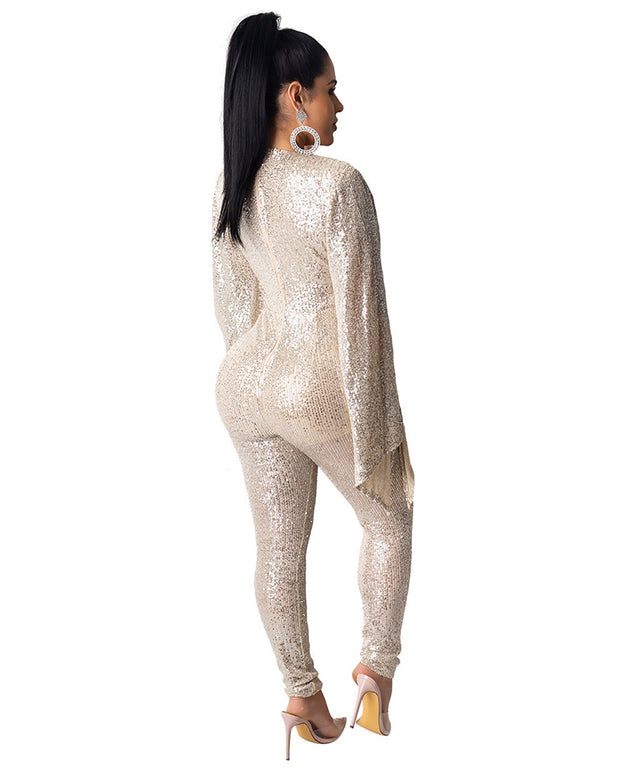 Batwing Sleeve Shining Jumpsuit