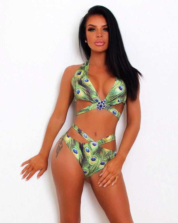 Rule The Pool Feather Print Bikini