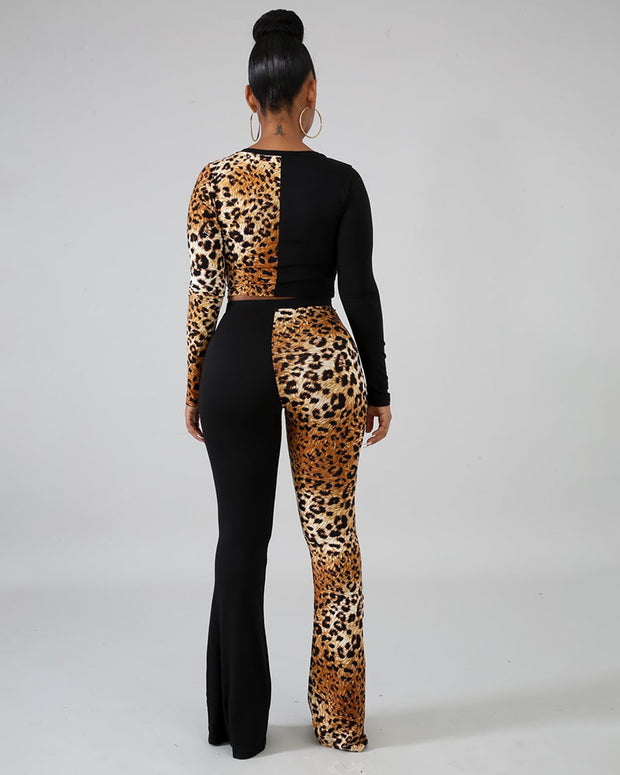 Till I Walk Leopard Patchwork Two Piece Set