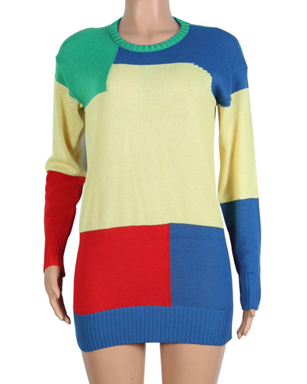 Irregular Color Block Sweater