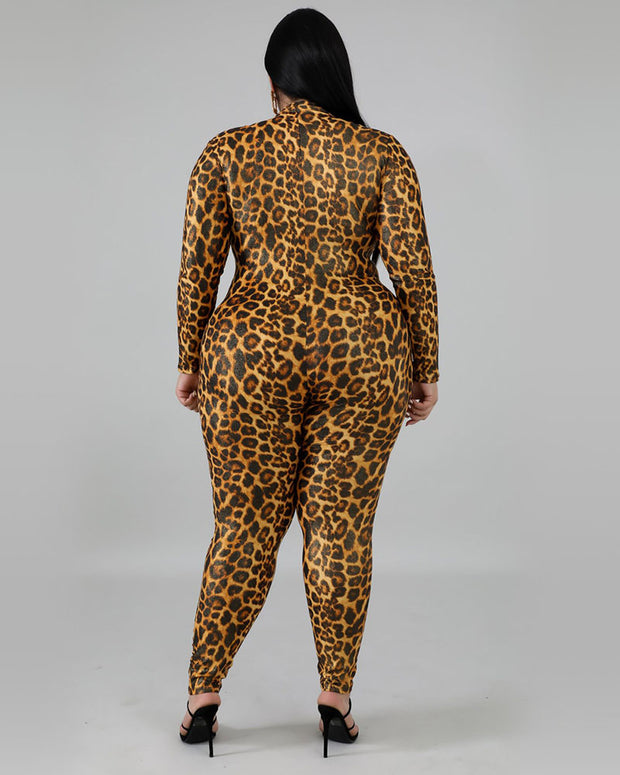 Plus Leopard Print Zipper Front Jumpsuit