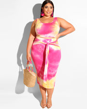 Plus Curvy Tied In Knot Skirt Set