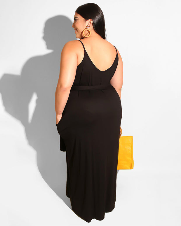 Solid Color Belt Plus Size Maxi Dress