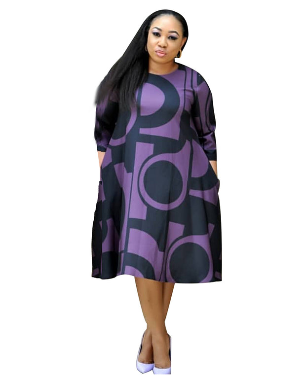 Plus Symbols Prints Midi Dress