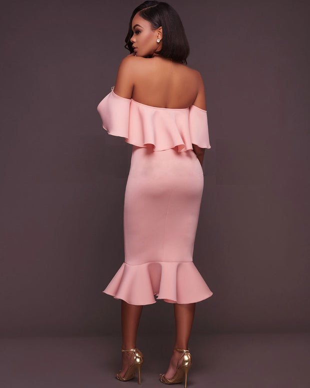 Sexy Ruffle Tirm Off Shoulder Dress