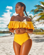 Off Shoulder Ruffled Swimsuit