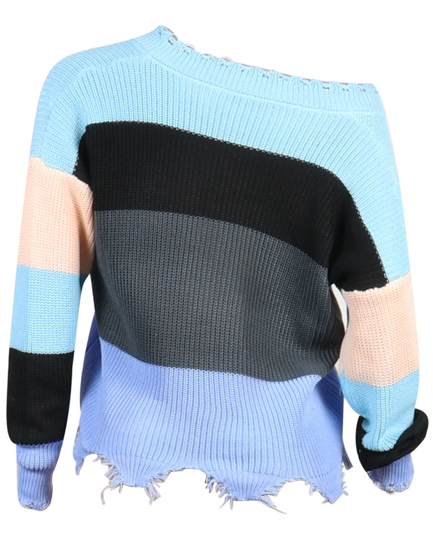 Batwing Sleeve Color Block Sweater