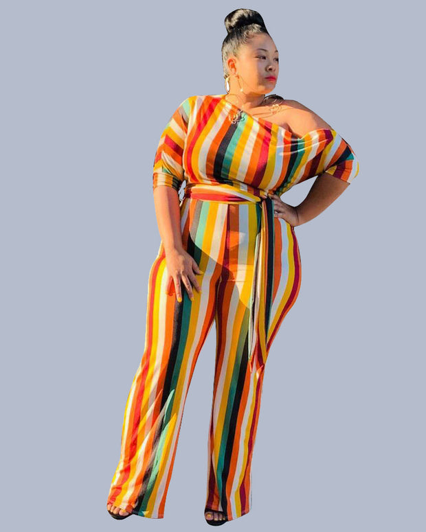 Plus Size Casual One Shoulder Striped Multicolor One-piece Jumpsuit