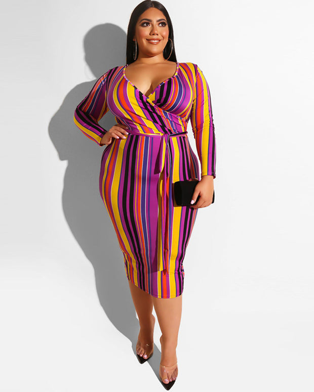 Plus Geo Print Curved Hem Bodycon Dress