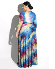 Plus Splash-ink Prints Maxi Dress