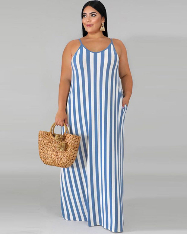 Plus Criss Cross Striped Cami Dress