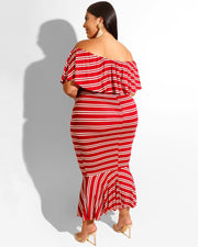 Plus Stripe Printed Drawstring Waist Off Shoulder Dress