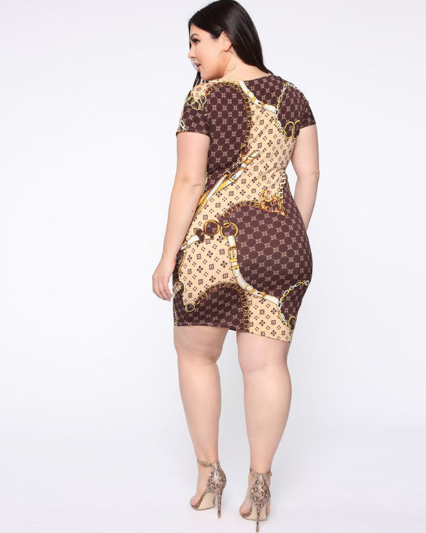 Plus Totem Prints Golden Circle Dress