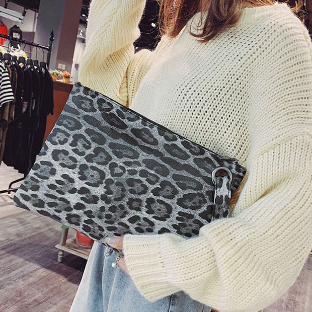 Leopard Print Clutch Bag