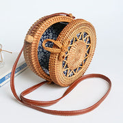 Tie Front Round Shaped Woven Clutch Bag