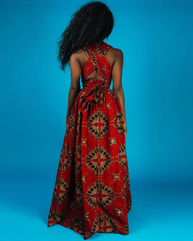 Digital Print High Waist Maxi Dress